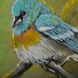 Kimberly Benedict - Lazuli Bunting Male mini painting ACEO