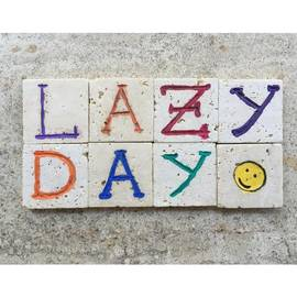 Adriano La Naia - Lazy Day On Carved Travertine Pieces -