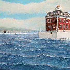 Ledge Lighthouse and submarine