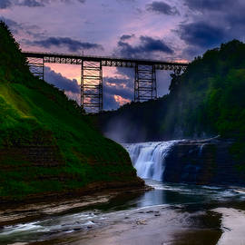 Letchworth Upper Falls at sunset