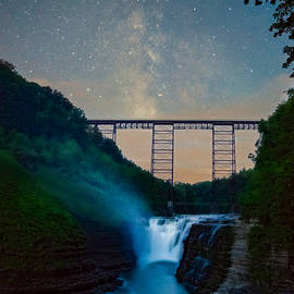 Letchworth Upper Falls under the Milky Way No 2