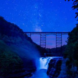 Chris Bordeleau - Letchworth Upper Falls under the Milky Way No1