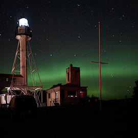 LuAnn Griffin - Lighthouse at Whitefish Point with Aurora