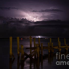 Dawna  Moore Photography - Lightning over the Dock