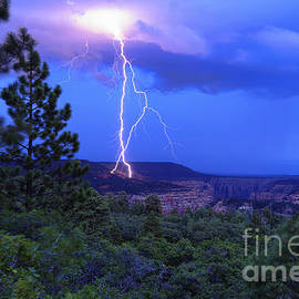 Scotts Scapes - Lightning Strike above Arch Canyon - Utah