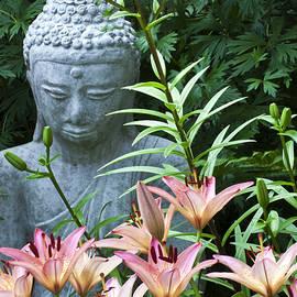 Sandra Foster - Lilies And Garden Statue