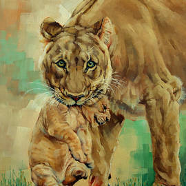 Margaret Stockdale - Lioness And Cub