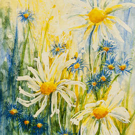 CheyAnne Sexton - Little blues with Fresh White Daisies watercolour