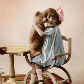 R Muirhead Art - Little Girl with Teddy Bear