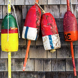 Steven Ralser - Lobster Buoys on Shingle Wall - Cape Neddick -  Maine