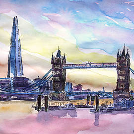 M Bleichner - London Tower Bridge with The Shard Watercolor Art