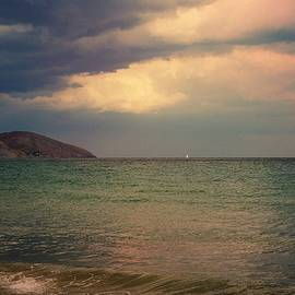 Yuri Hope - Lone white sail in the sea mist blue