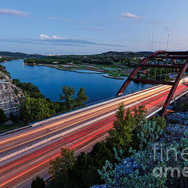 Silvio Ligutti - Long Exposure View of Pennybacker Bridge over Lake Austin at Twilight - Austin Texas Hill Country