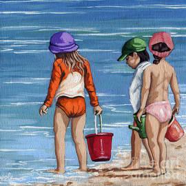 Linda Apple - Looking for Seashells Children on the beach figurative original painting