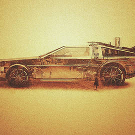 Philipp Rietz - Lost in the Wild Wild West Golden Delorean Doubleexposure Art