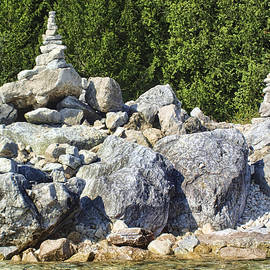 Rebecca Snyder - Mackinac Island Rock Stacking on the Shorline