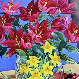 Magenta Lilies and Daffodils - Christopher Ryland
