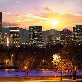 Gregory Ballos - Magical Mountain Sunset - Denver Colorado Downtown Skyline
