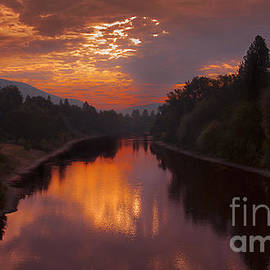 Jerry Cowart - Magnificent Clouds Over Rogue River Oregon at Sunset