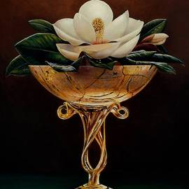 Mike Roberts - Magnolia in Gold Glass Vase