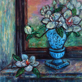 Xueling Zou - Magnolias in a Blue Vase by the Window