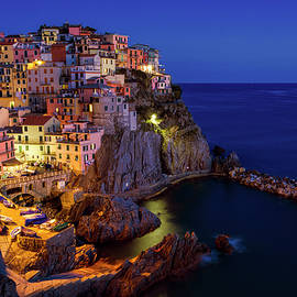 Manarola Cinque Terre Italy Nightfall