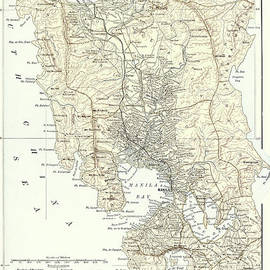 Map of Manila, Philippines and the seat of war during the Spanish-American War of 1898 - English School
