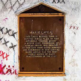 Kathleen K Parker - Marie Laveau Tomb Historical Marker- NOLA
