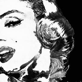 Sharon Cummings - Marilyn Monroe Painting - Bombshell Black And White - By Sharon Cummings