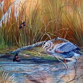 Daniel Butler - Marsh Madness- Great Blue Heron/ Red winged Black Birds