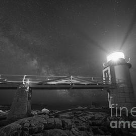 Michael Ver Sprill - Marshall Point Lighthouse Milky Way Rising BW
