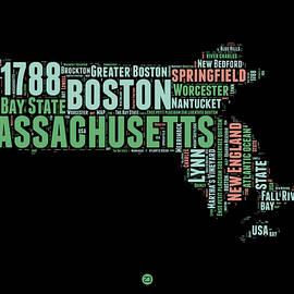 Massachusetts Word Cloud Map 1 - Naxart Studio