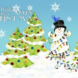 Merry Christmas Typography Snowman w Christmas Trees n Blue Birds - Audrey Jeanne Roberts