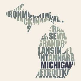 Michigan State Outline Word Map - Design Turnpike