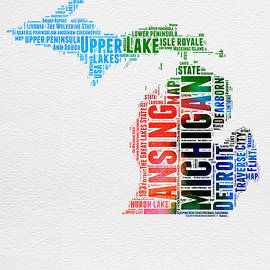 Michigan Watercolor Word Cloud - Naxart Studio