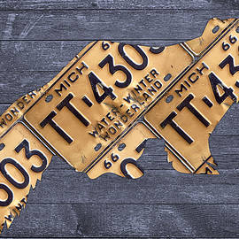 Michigan Wolverine State Animal Silhouette Recycled Vintage License Plate Art on Distressed Barn Wood - Design Turnpike