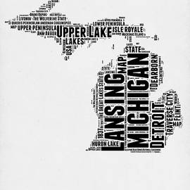 Michigan Word Cloud Map 2 - Naxart Studio