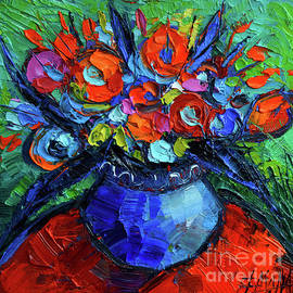 Mona Edulesco - Mini Floral on Red Round Table