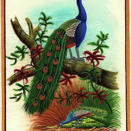 M B Sharma - Miniature Painting India Artwork Artist Art Gallery Bird watching Forest Tree, Watercolor Painting
