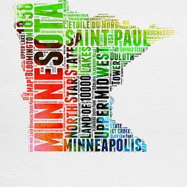Minnesota Watercolor Word Cloud Map  - Naxart Studio