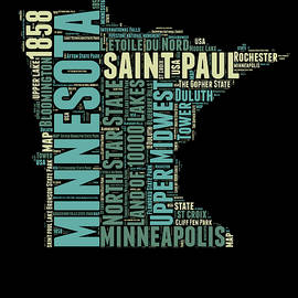 Minnesota Word Cloud Map 1 - Naxart Studio