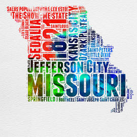 Missouri Watercolor Word Cloud Map  - Naxart Studio