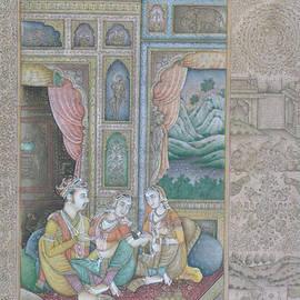 R Verma - Moghul Mughal Miniature Art Handmade Watercolor Harem Theme Folk  Art