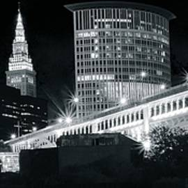 Frozen in Time Fine Art Photography - Moon over Cleveland
