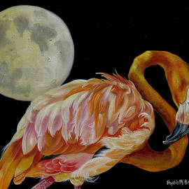 Phyllis Beiser - Moon Over Mississippi A Flamingos Perspective