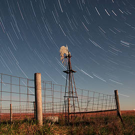 Mark A Brown - Moonlit Windmill beneath Trailing Stars