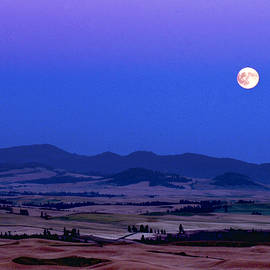 Jean Noren - Moonrise Over the Palouse by Jean Noren