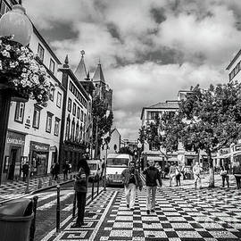Liesl Walsh - Mosaic Patterned Walkway In Funchal, Madeira, Blk Wht