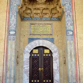 Imran Ahmed - Mosque door in niche with carvings and calligraphy Sarajevo Bosnia Hercegovina