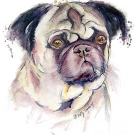Melly Terpening - Mr Thinker Pug watercolor